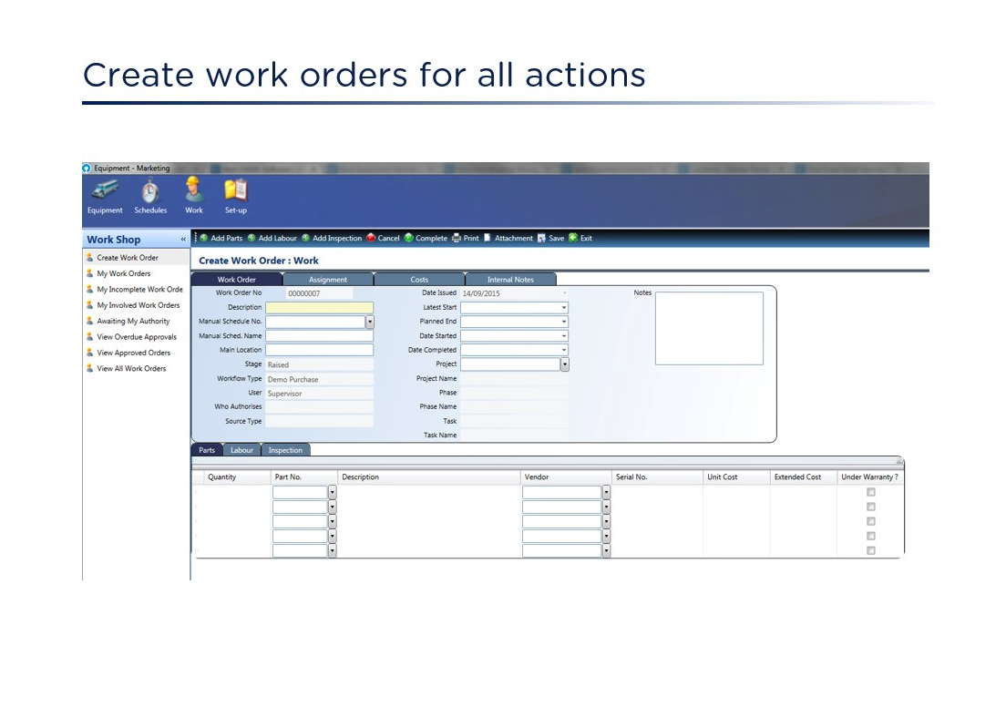 Work Order Creation in FMIS
