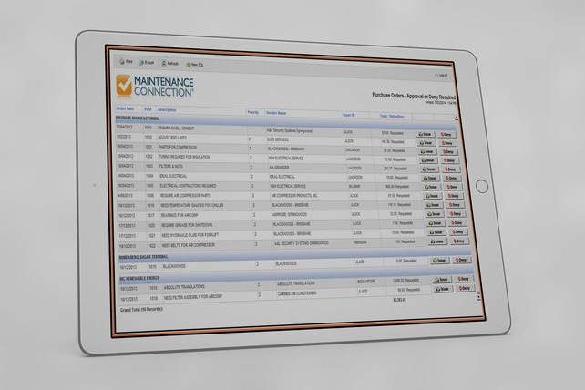 Multisite CMMS Purchase Orders Example